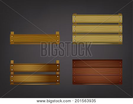 Wooden crates for fruits or vegetables. Food storage and transportation boxes in different sizes and colours isolated on a dark grey background. Vector illustration.