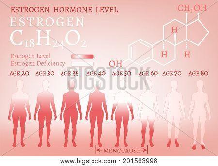 Estrogen hormone level infographic. Beautiful medical vector illustration with oestrogen moleculaar formula in pink colours. Scientific, educational and popular-scientific concept.