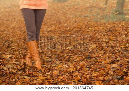 Closeup of woman legs in brown boots. Girl in autumn park forest. Fall winter fashion.