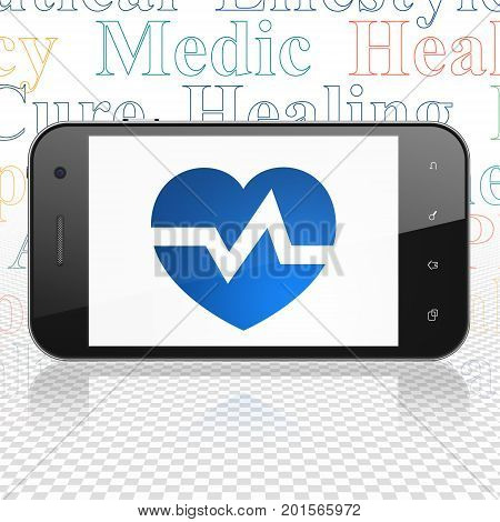 Health concept: Smartphone with  blue Heart icon on display,  Tag Cloud background, 3D rendering