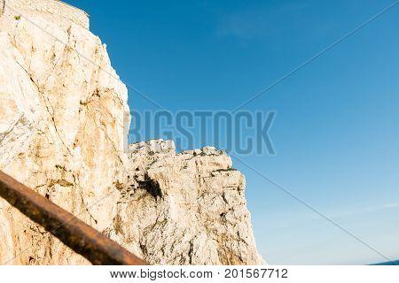The stairway leading the Neptune's Grotto, in Capo Caccia cliffs, near Alghero, in Sardinia, Italy