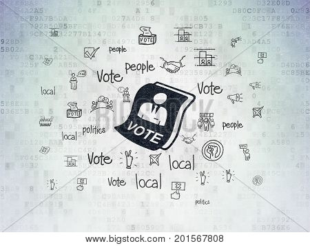 Political concept: Painted black Ballot icon on Digital Data Paper background with  Hand Drawn Politics Icons
