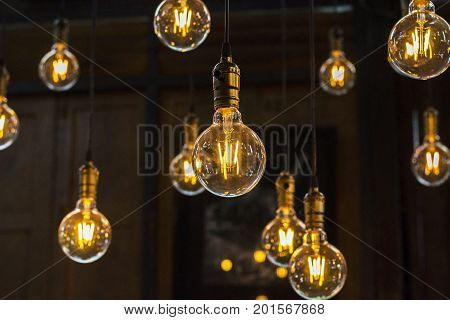 Luxury Beautiful Light Bulb Decor With Noise And Grain Retro Or Vintage Old Style