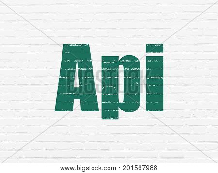 Software concept: Painted green text Api on White Brick wall background
