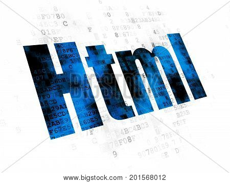 Software concept: Pixelated blue text Html on Digital background