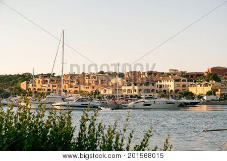PORTO CERVO, SARDINIA ITALY - 07.07.2017 The Marina at Porto Cervo in Sardinia May