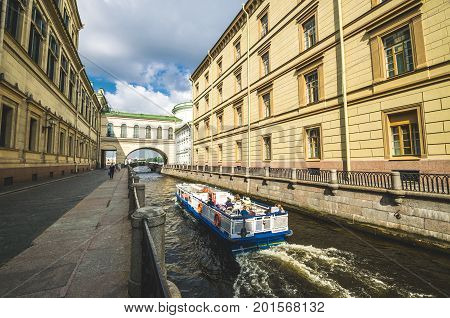 Winter Canal Exit To The Neva River. Russia, Saint-petersburg. August 17. 2017