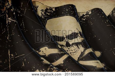 Pirates Skull And Bones Flag Waving Flag Old Paper