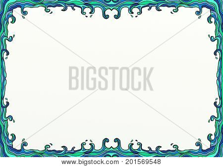 A hand drawn doodle style page border decoration with ocean waves and copy space.