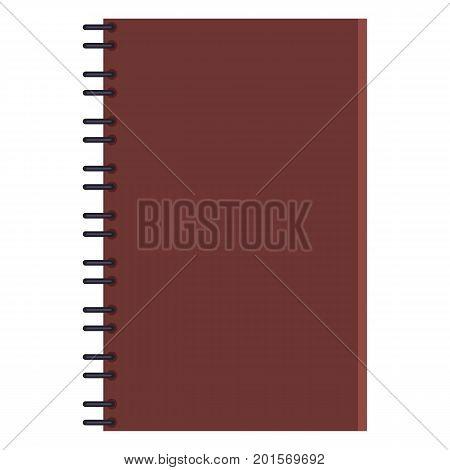 Vector Flat Illustration - Brown Closed Notepad