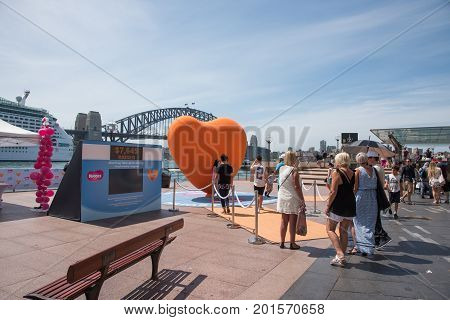 SYDNEY,NSW,AUSTRALIA-NOVEMBER 20,2016: Group of people waiting in line at the Australian Children's Hospital Foundation fundraiser at the Circular Quay in Sydney, Australia