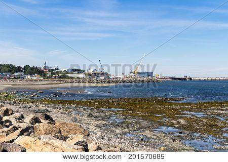 Matane Canada-09 August 2017 : Matane Port Coast view at summer. Matane is a town on the Gaspé Peninsula in Quebec Canada on the south shore of the Saint Lawrence River