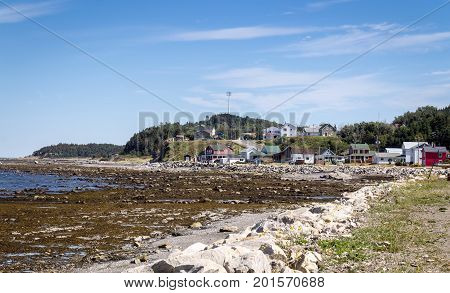 Matane Canada-09 August 2017 : Grosses-Roches Matane Coast view at summer. Matane is a town on the Gaspé Peninsula in Quebec Canada on the south shore of the Saint Lawrence River