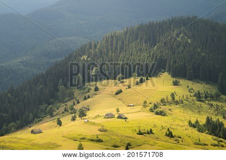 Beautiful nature landscape and abandoned wood lodges on a meadow among mountain forests. Carpathian sight of highland field with old hunters houses on hill sides next to fur tree forests and mountains