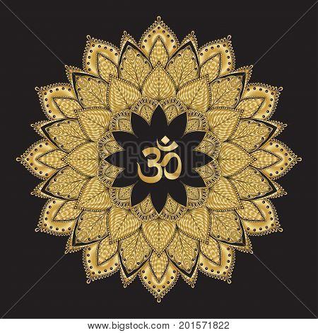 Om symbol with mandala. Round golden Pattern on black background. Hand drawn Ornate Indian pattern decorative vector elements.