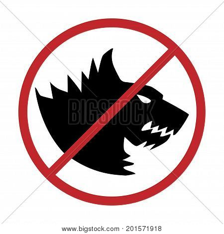No dogs allowed. Dog prohibition sign vector illustration.