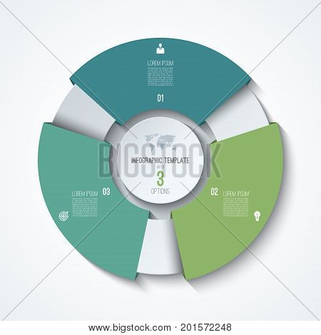 Circle infographic template. Process wheel. Vector pie chart. Business concept with 3 options. Can be used for diagram, graph, chart, step by step infographics, web design