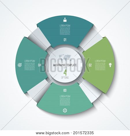 Circle infographic template. Process wheel. Vector pie chart. Business concept with 4 options, parts, steps. Can be used for diagram, graph, chart, step by step infographics, web design