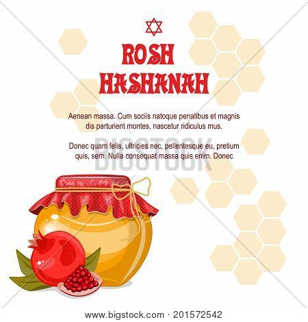 Greeting cards Rosh Hashanah Jewish New year. The design with a pen to draw a half of a ripe pomegranate with a jar of honey. Pomegranate seeds. Celebrating Rosh Hashanah-Shanah.Stock vector.