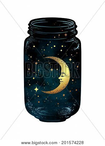 Hand Drawn Wish Jar. Crescent Moon And Stars In Glass Jar Isolated. Sticker, Print Or Tattoo Design