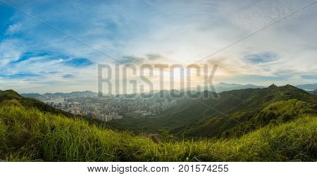 Mountain Valley During Sunset. Natural Summer Landscape In Hong Kong