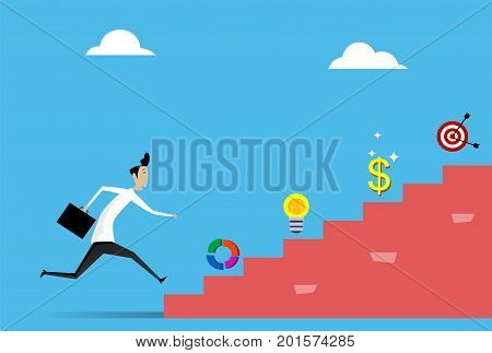 Businessman running up stairs. Career, leadership concept illustration. Vector