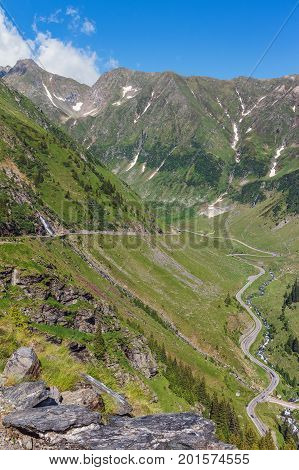 View of the most famous and dangerous road in Europe is a Transfagarasan road in a high Carpathian mountains Romania.