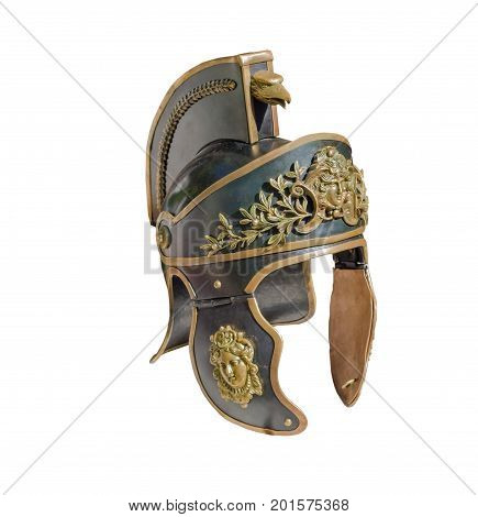 the Roman soldier helmet on white background