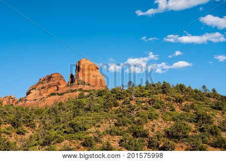 Red rock formations of the Oak Creek Canyon along Arizona State Route 89A just north of Sedona