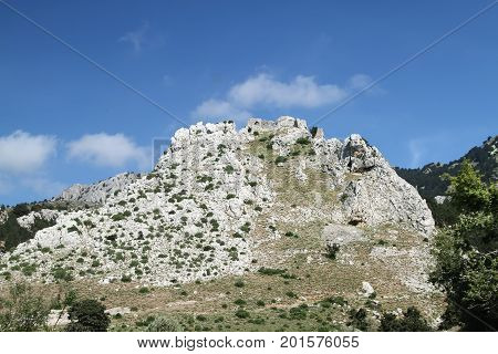 Ruins of the Byzantine fortress of Paleo Pili on the island of Kos. Greece