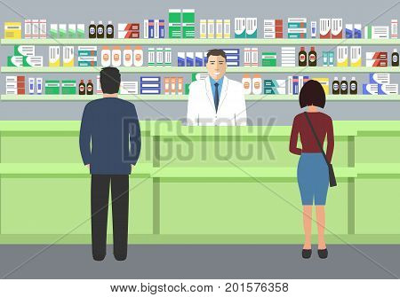 Web banner of a pharmacist. Young man at the workplace in a pharmacy: standing in front of shelves with medicines.There are also visitors here. Vector illustration