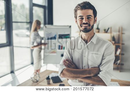 Couple Working In Office