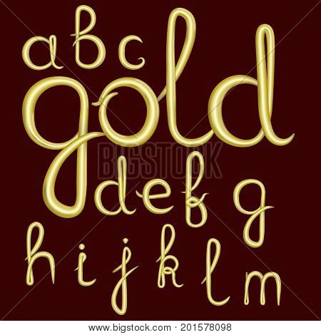 A set of lowercase Latin letters made of thick golden cream. Font is isolated by a velvety dark crimson background. Letters have 3D effect. Part 1. Vector illustration.
