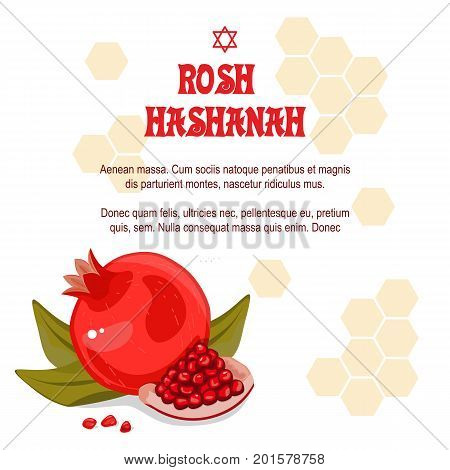 Greeting cards Rosh Hashanah Jewish New year. The design with a pen to draw a half of a ripe pomegranate with a jar of honey. Pomegranate seeds.Stock vector. Celebrating Rosh Hashanah-Shanah.