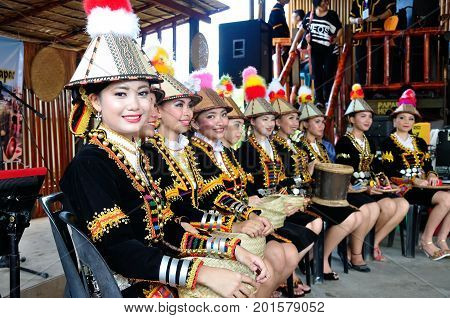 Kota Kinabalu , Malaysia - May 30, 2014: Beautiful Dancers Of Kadazan Dusun Ethnic From Papar, An In