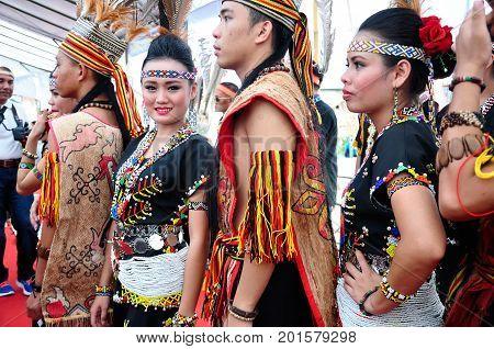 Kota Kinabalu , Malaysia - May 30, 2014: Kadazan Murut Magunatip Dancers During Harvest Festival In