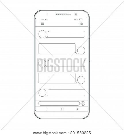 Smartphone outline icon. Vector wireframe contour of modern mobile phone, cellphone. Messenger app interface. Chatting and messaging. SMS sending. Chat boxes. Speech bubbles. Social network concept.