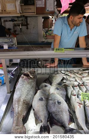 FETHIYE, TURKEY 5TH AUGUST 2017: Fish for sale at a popular fish market in Fethiye , Turkey,5TH AUGUST 2017