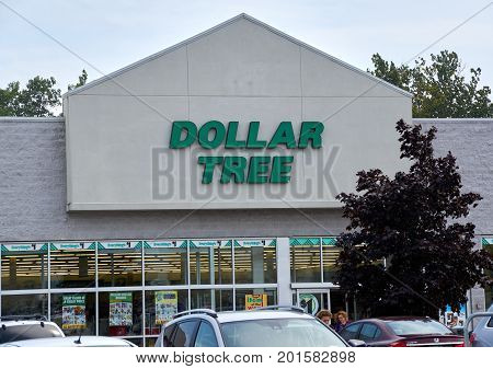 PLATTSBURGH USA - AUGUST 23 2017 : Dollar Tree store and sign. Dollar Tree Inc. is an American chain of discount variety stores that sells items for one dollar or less.