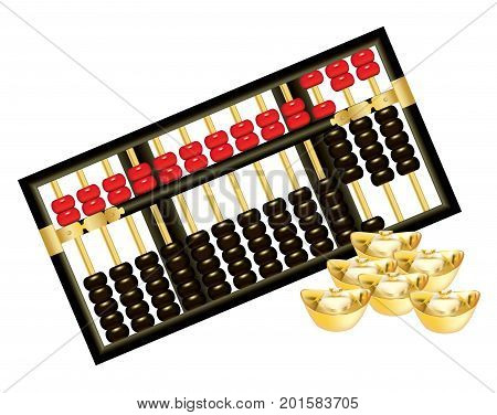 Abacus with red and black beads and ingots