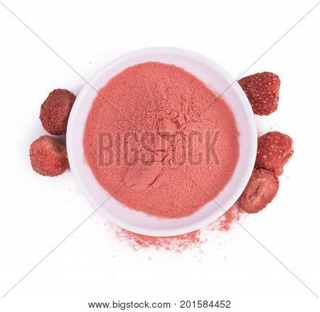 Portion Of Instant Strawberries Isolated On White