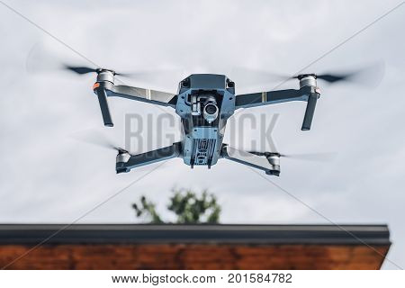 Uav Drone Copter Flying With High Resolution Digital Camera