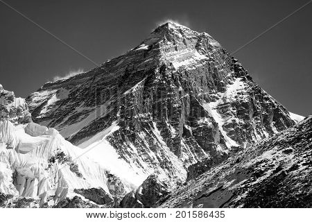 black and white silhouette of Mount Everest from Gokyo valley Sagarmatha national park Khumbu valley Nepal
