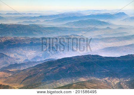 Mountain ridges aerial view of Iranian mountains