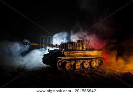 War Concept. Military Silhouettes Fighting Scene On War Fog Sky Background, German Tank In Action Be