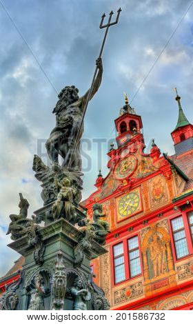 Neptune fountain in front of the city hall of Tubingen - Baden-Wurttemberg, Germany