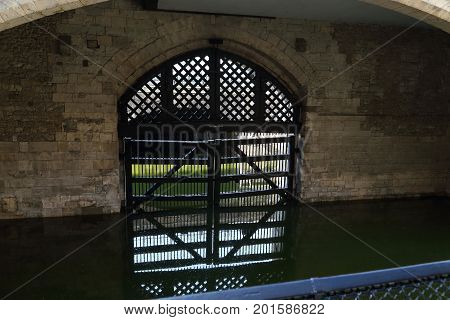 LONDON, GREAT BRITAIN - MAY 16, 2014: It is the Gate of the Traitors through which the prisoners brought to the Thames were brought into the castle.