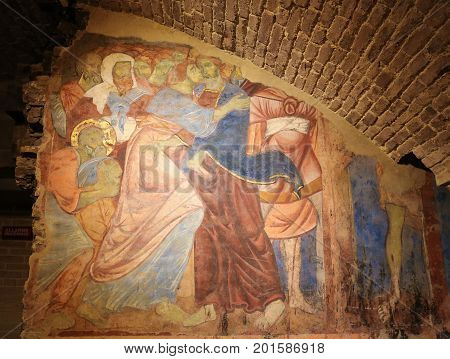Fresco In Crypt Of Siena Cathedral - Judas Kiss
