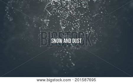Falling snow particles flying on the air. fantasy dust on the dark background. Bokeh effect. Snowfall and wind explode