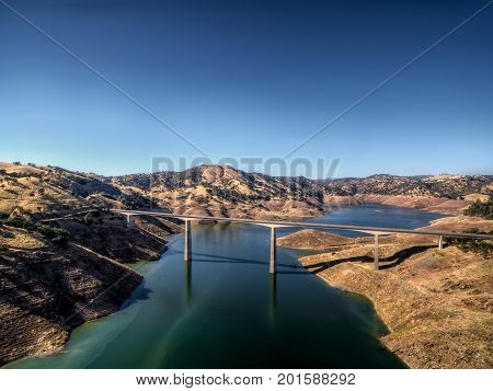 Aerial View of the James E Roberts Memorial Bridge near Yosemite National Park sammer time.